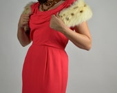 50's Rabbit Fur Collar Made with White and Caramel Brown Rabbit Fur  Use Collar to Dress Up a Dress, Coat, Jacket or Cardigan