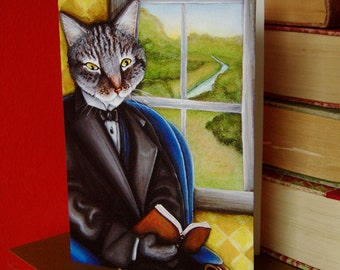 Cat Reading Book 5x7 Blank Greeting Card, Grey Tabby Wearing Suit, Literary Cat Art