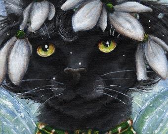 Black Cat Snowdrop Flower Fairy Fantasy Art, 8x10 Fine Art Reproduction Print