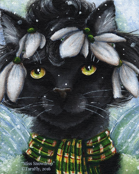 Black Cat Snowdrop Fairy 8x10 Fine Art Print