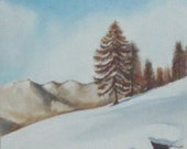 mountain trees winter oil painting