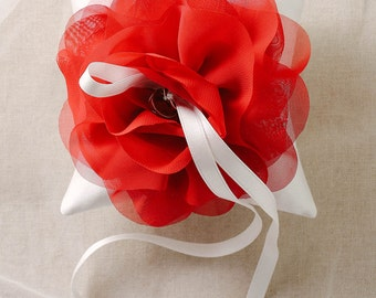 Christmas decor, red wedding ring pillow, red flower ring bearer, wedding decor, winter ring pillow - Aria
