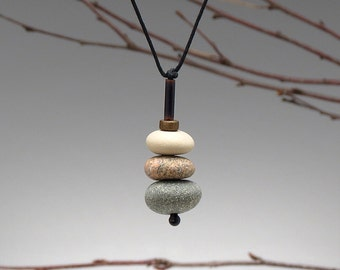 Nature Necklace of beach stones , cairn of beach stones,neutrals, meditative, zen, adjustable cord