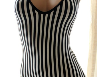 Muheeka Bodysuit, Halter, Black and White STRIPES, Thong Bodysuit, OnePiece, Leotard, Thong One Piece, Aerial Costume
