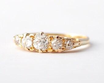 Five Diamond Wedding Band: 1+ Carat, Victorian, 14K Yellow Gold, Size 5.5