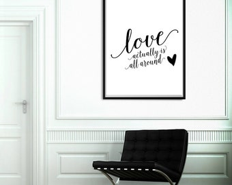 gift for her, inspirational wall art, black and white, monochrome decor, love actually movie, anniversary gift, wedding gift, gift for bride