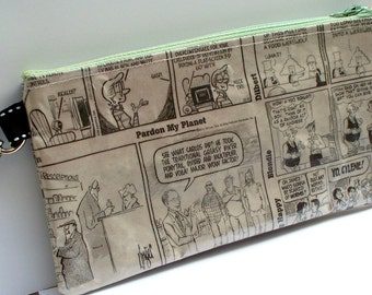 Newspaper Purse - Upcycled newspaper Daily Funnies - repurposed into a SWEET usable pencil case, catch all purse