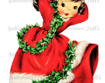 Cute Girl in Christmas Dress Image Digital Download vintage holiday xmas christmas card 1950s pretty girl holly garland high heels green red