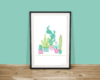 Cactus Digital Art Print / Cactus Illustration / Cacti Art Print / Succulent Wall Art / Digital Wall Art / A5 Art Print / A4 Art Print