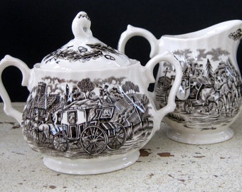 Royal Mail Creamer and Sugar Bowl Set by Staffordshire Ironstone, Made in England