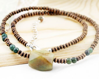 Stability (unisex) necklace - Indian agate