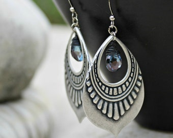 Silver Chandelier Earrings, Mystic Quartz Stone, Indigo Blue, Bohemian Earrings, Boho Chic, Dangle Earrings