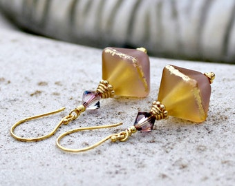 Rose and Topaz Gold Glass Lampwork Earrings, Gold Vermeil, Swarovski Crystal, Drop Earrings, Amber, Pink