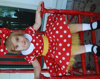 Minnie mouse dress red dot tutu dress disney red bow bloomers