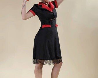 "Dress pin-up, black and red dress, dress rétro, dress sixties "" So Delicious"""