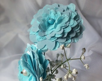 Aqua Blue Fabric Flower Arrangement in Vintage Bottle