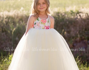 NEW! The Adeline Dress in Floral and Ivory - Flower Girl Tutu Dress