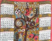 MOD Vintage Calendar Towel Ulster Linen 1972