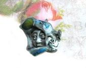 clay art bead, Focal Bead, ceramic bead,  art bead - OOAK bead - blue  bead -   # 80