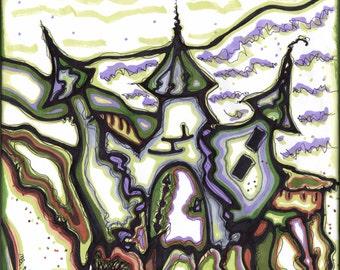 Giclee art print, prismacolor, castle, 8x10