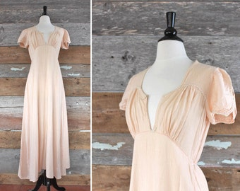1930s nightgown / 30s flannel night dress / 1930s loungewear / size m - l