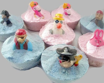 Childrens Bath Fizzies/Bombs- each 2.5-3.2 oz..- each with finger puppet embedded. Party gift, party favors-bathtime fun