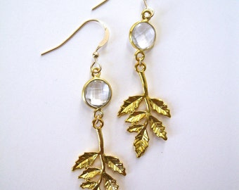 Crystal Quartz and Gold Leaf drop dangle gemstone earrings 14k gold filled wires