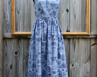 sailboat print dress -  lightweight denim dress  - retro clothing - womens dress - vintage inspired - rockabilly dress