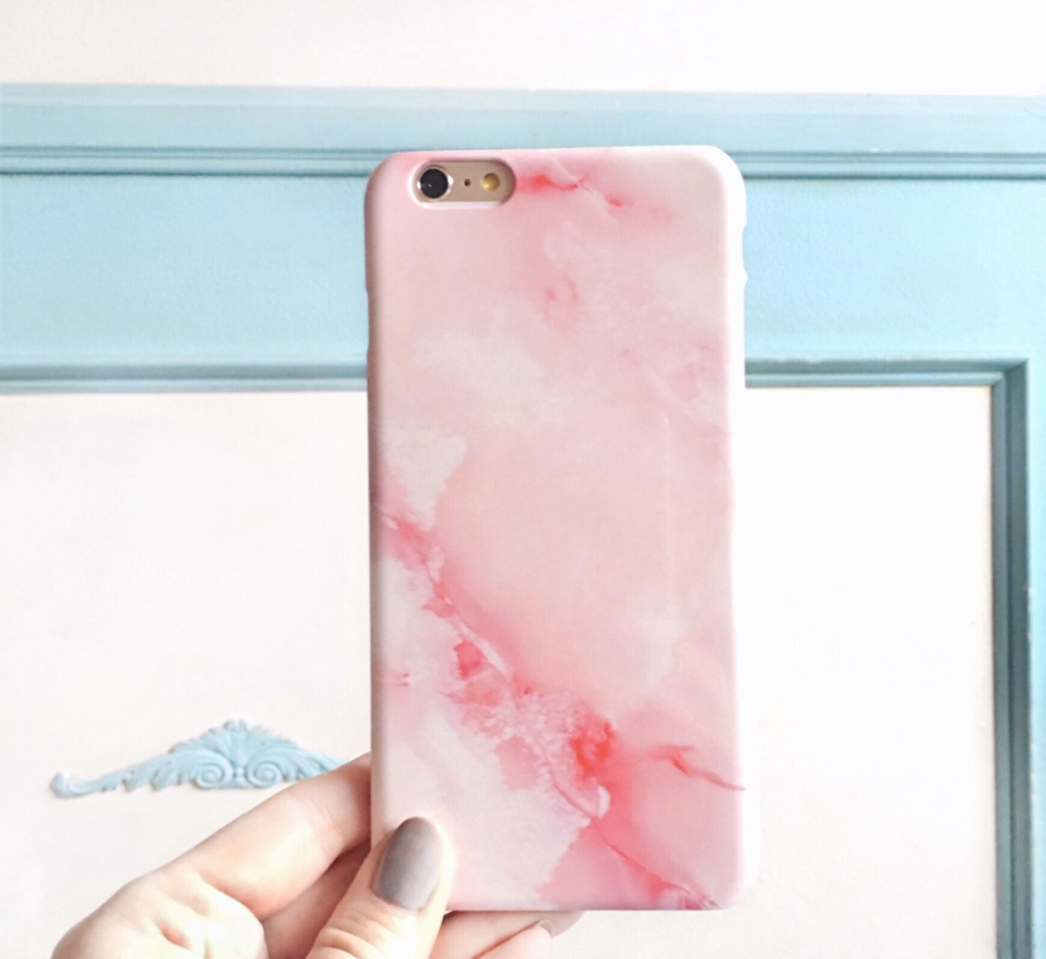 Rosa m rmol iphone 6s caso rose cuarzo del por for Color marmol rosa