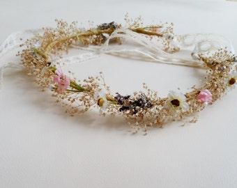 Mother daughter dried Flower crowns - set of 2 - Mini Daisy hair wreath maternity photo shoot Accessories Bridal lace tie little girl halo