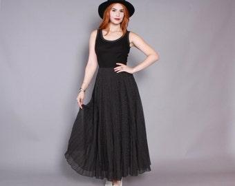 Vintage 60s Polka Dot DRESS / 1960s Black Sleeveless Swiss Dot Full Skirt Dress XS - S