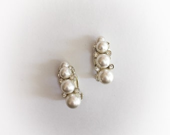 Vintage Faux Pearl and Rhinestone Earrings Clip On