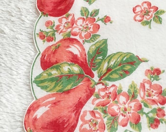 Vintage  Red Summer Pears Handkerchief  Scalloped Edges
