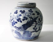 Vintage Blue & White Porcelain Chinoiserie Cherry Blossom and Bird Ginger Jar / Asian