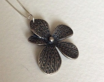 Orchid sterling silver pendant necklace