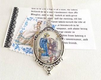 Jane Austen necklace, vintage postage stamp, Emma, Jane Austen jewelry, book lover gift