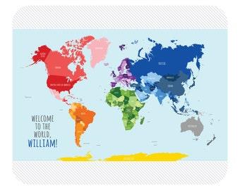World Map Baby Blanket Baby Name Blanket Monogrammed Baby Blanket Receiving Blanket Custom Baby Blanket Map