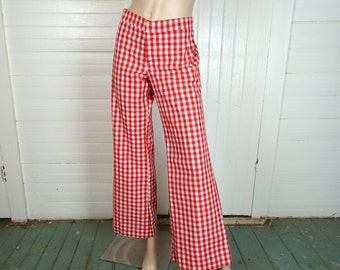 Red Gingham Low Rise Pants- 1960s / 60s Wide Leg Bell Bottoms- Medium- Hippie, Boho, Festival