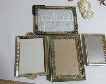 Metal Picture Frames  5 x7  and Smaller Set of 4 Ornate with Glass and Backing