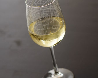 Paris Map Wine Glass