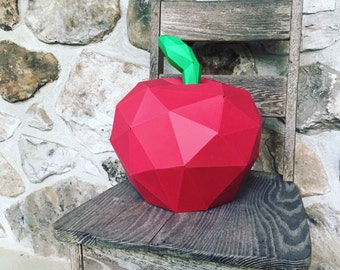 APPLE 3d papercraft. You get a PDF digital template and instructions for this DIY (do it yourself) geometric paper apple.