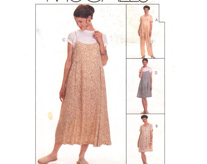 Maternity Sewing Pattern McCalls 7560 Empire Jumpsuit Dress Slip Dress Womens Size 12 14 16