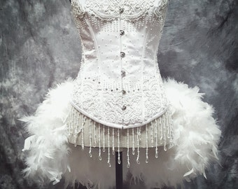 SNOW WHITE Swan Wedding Dress Bridal Corset Feather Costume steel boned, Accessories EVERYTHING Included!!!