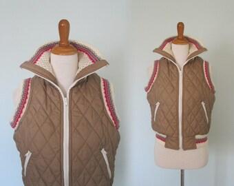 Cute 80s Puffy Vest with Knit Fair Isle Trim - Vintage Tan Winter Vest with Nordic Sweater Trim - Vintage 1980s Vest S M