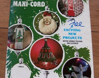 vintage 70s 80s macrame pattern MERRY CHRISTMAS from Maxi-Cord - santa, noel hanging, tree, angels, tree hanging