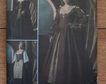 2005 simplicity pattern 4488 misses renaissance dress costumes sz 8-10-12-14  uncut
