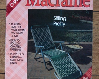 vintage 80s macrame pattern chair and lounge chir seats baseball sailboats