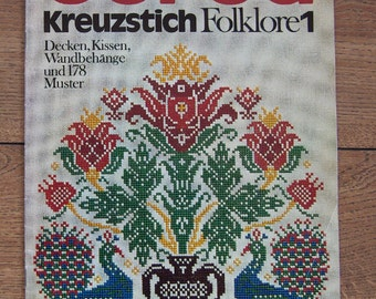 vintage 1972 cross stitch embroidery book Burda Kreuzstich Folklore 1  M 2018 D in German