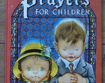 vintage 50s/70s big oversize golden book PRAYERS FOR CHILDREN boys girls