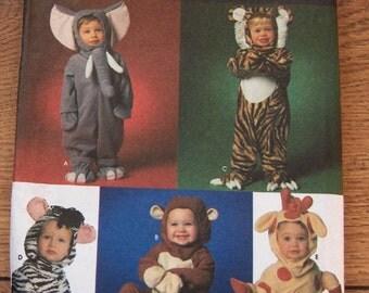 1997 simplicity pattern 7785 toddler's costumes sz 1/2-1-2-3-4 uncut elephant monkey tiger zebra giraffe
